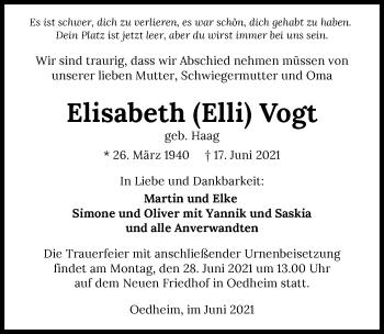 Traueranzeige von Elisabeth Vogt von GESAMT