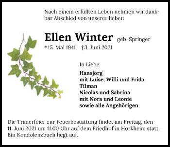 Traueranzeige von Ellen Winter von GESAMT
