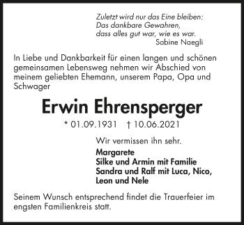 Traueranzeige von Erwin Ehrensperger von GESAMT