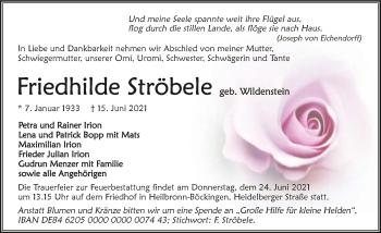 Traueranzeige von Friedhilde Ströbele von GESAMT