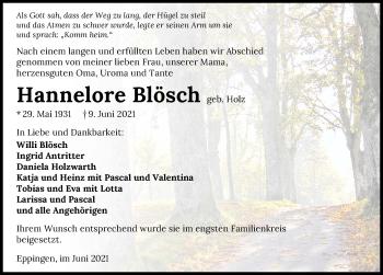 Traueranzeige von Hannelore Blösch von GESAMT