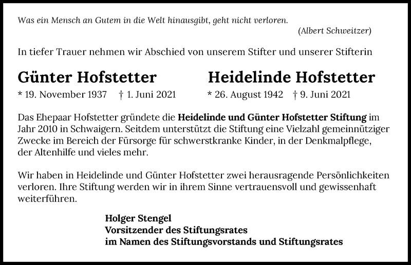 Traueranzeige für Heidelinde Hofstetter vom 12.06.2021 aus GESAMT
