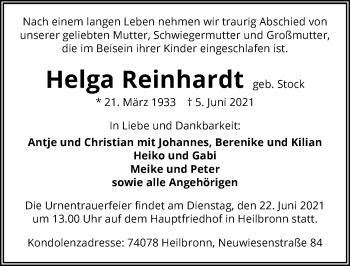 Traueranzeige von Helga Reinhardt von GESAMT
