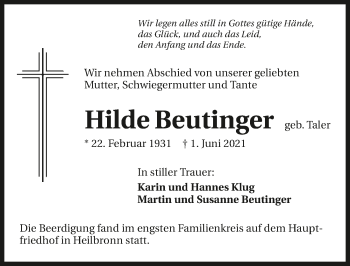 Traueranzeige von Hilde Beutinger von GESAMT
