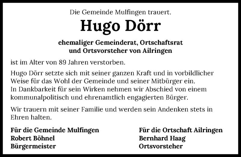 Traueranzeige für Hugo Dörr vom 09.06.2021 aus GESAMT