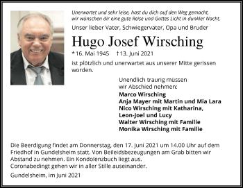 Traueranzeige von Hugo Josef Wirsching von GESAMT