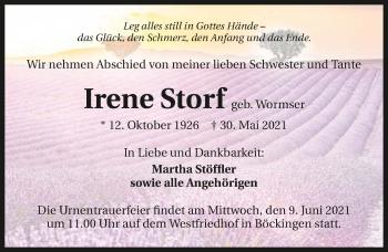 Traueranzeige von Irene Storf von GESAMT