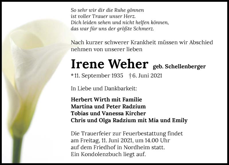 Traueranzeige für Irene Weher vom 09.06.2021 aus GESAMT