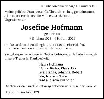 Traueranzeige von Josefine Hofmann von GESAMT