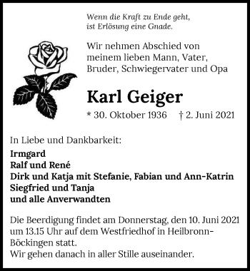 Traueranzeige von Karl Geiger von GESAMT