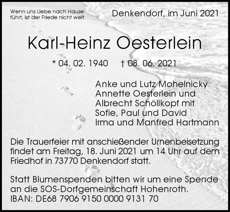 Traueranzeige für Karl-Heinz Oesterlein vom 12.06.2021 aus GESAMT
