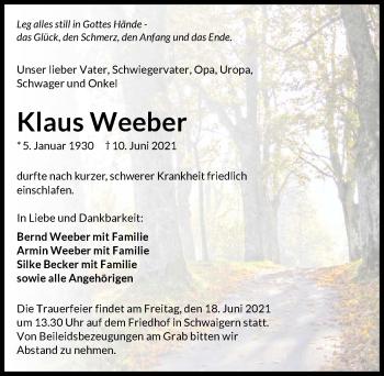 Traueranzeige von Klaus Weeber von GESAMT