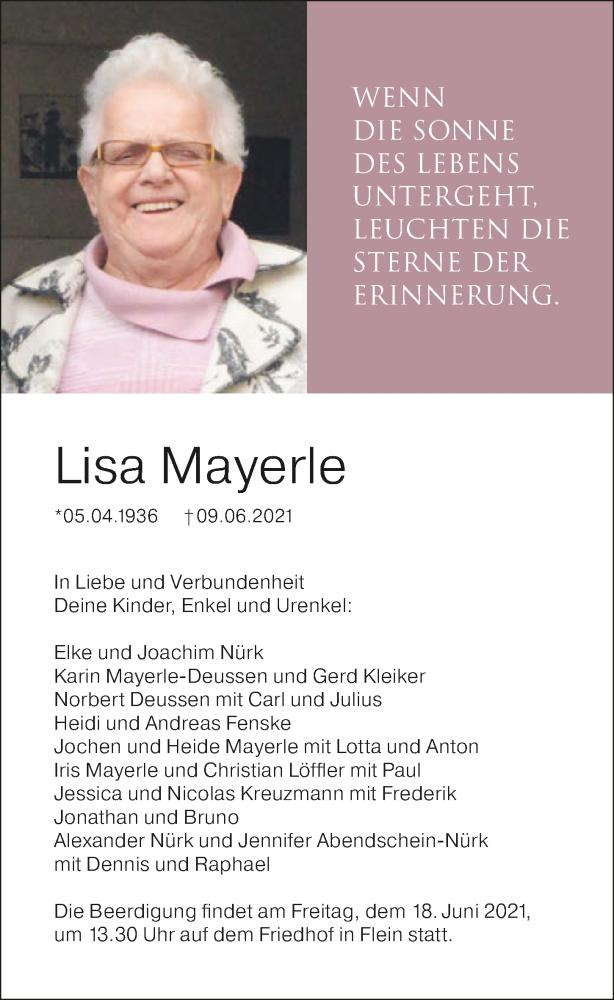 Traueranzeige für Lisa Mayerle vom 12.06.2021 aus GESAMT