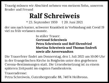 Traueranzeige von Ralf Schreiweis von GESAMT