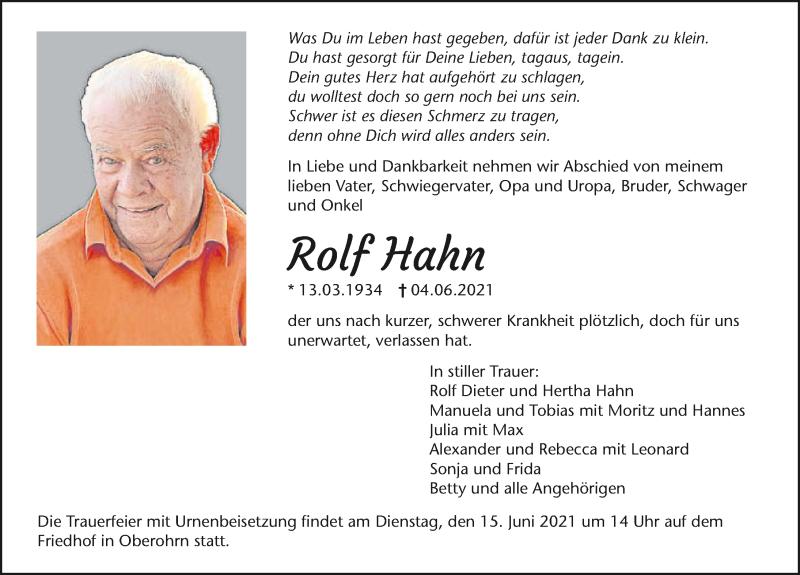 Traueranzeige für Rolf Hahn vom 10.06.2021 aus GESAMT