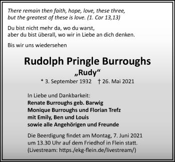 Traueranzeige von Rudolph Pringle Burroughs von GESAMT