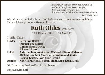 Traueranzeige von Ruth Ohles von GESAMT