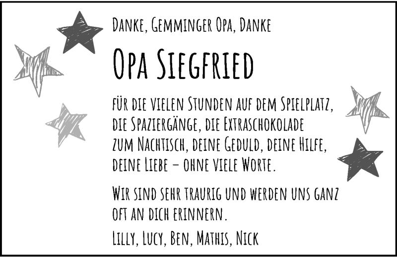 Traueranzeige für Siegfried Huber vom 09.06.2021 aus GESAMT