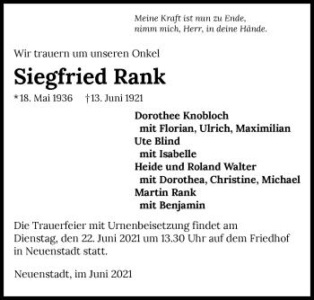 Traueranzeige von Siegfried Rank von GESAMT