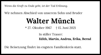 Traueranzeige von Walter Münch von GESAMT