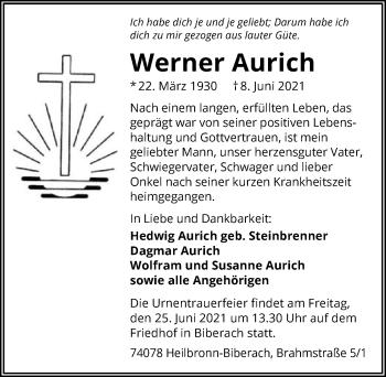 Traueranzeige von Werner Aurich von GESAMT