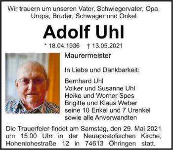 Traueranzeige von Adolf Uhl von GESAMT