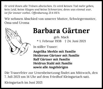Traueranzeige von Barbara Gärtner von GESAMT