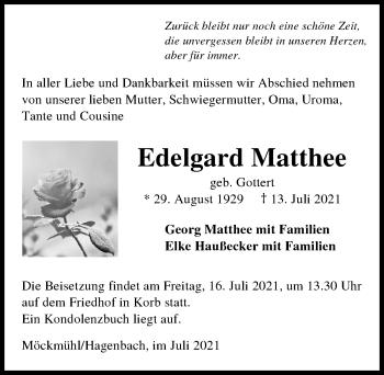 Traueranzeige von Edelgard Matthee von GESAMT