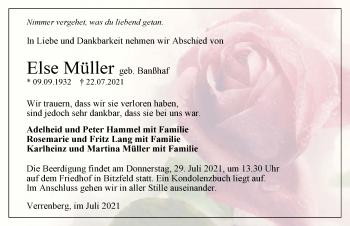 Traueranzeige von Else Müller von GESAMT