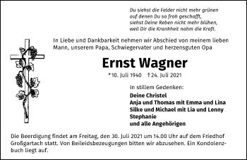 Traueranzeige von Ernst Wagner von GESAMT