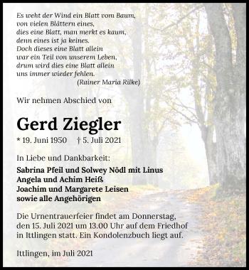 Traueranzeige von Gerd Ziegler von GESAMT