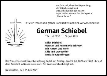 Traueranzeige von German Schiebel von GESAMT