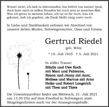 Traueranzeige von Gertrud Riedel von GESAMT