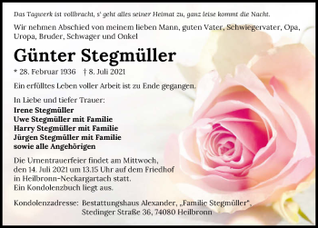 Traueranzeige von Günter Stegmüller von GESAMT