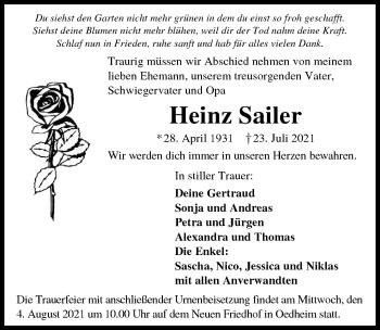 Traueranzeige von Heinz Sailer von GESAMT