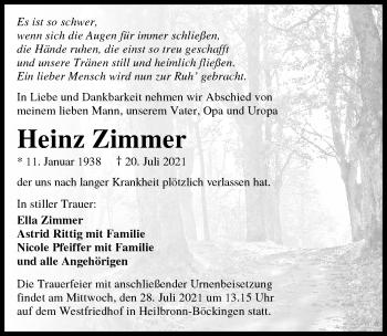 Traueranzeige von Heinz Zimmer von GESAMT