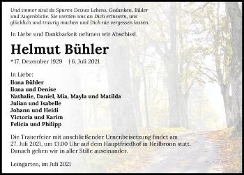 Traueranzeige von Helmut Bühler von GESAMT