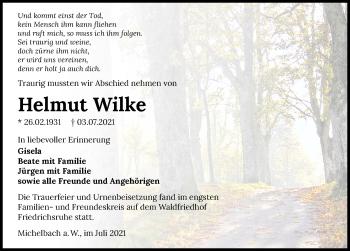 Traueranzeige von Helmut Wilke von GESAMT