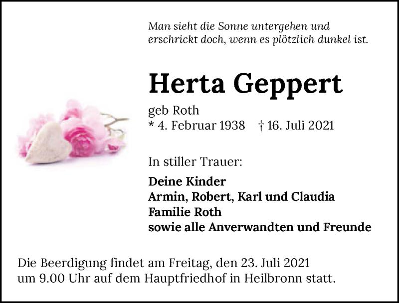 Traueranzeige für Herta Geppert vom 21.07.2021 aus GESAMT