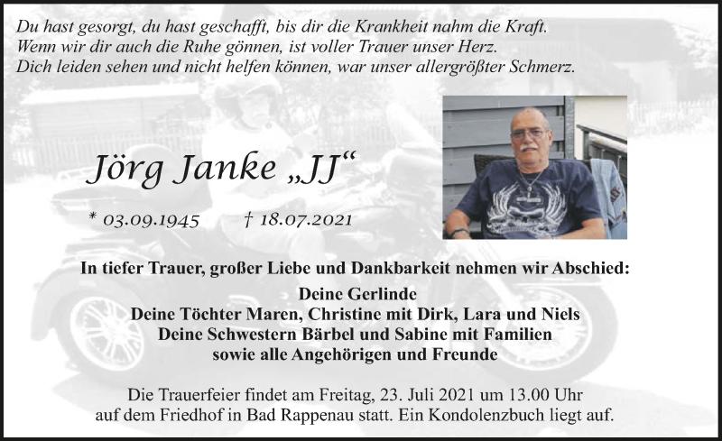 Traueranzeige für Jörg Janke vom 21.07.2021 aus GESAMT