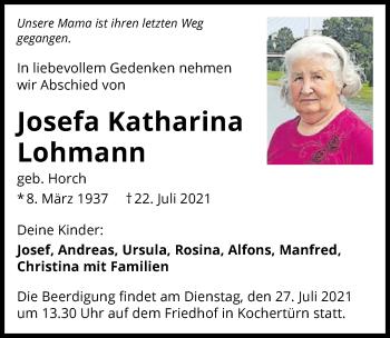 Traueranzeige von Josefa Katharina Lohmann von GESAMT