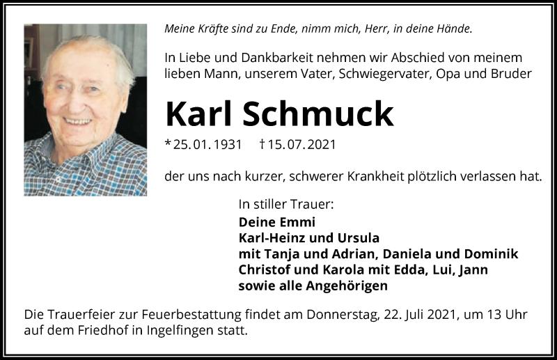 Traueranzeige für Karl Schmuck vom 20.07.2021 aus GESAMT
