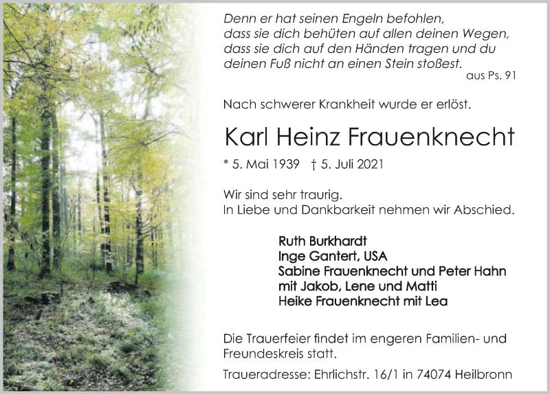 Traueranzeige für Karl Heinz Frauenknecht vom 08.07.2021 aus GESAMT