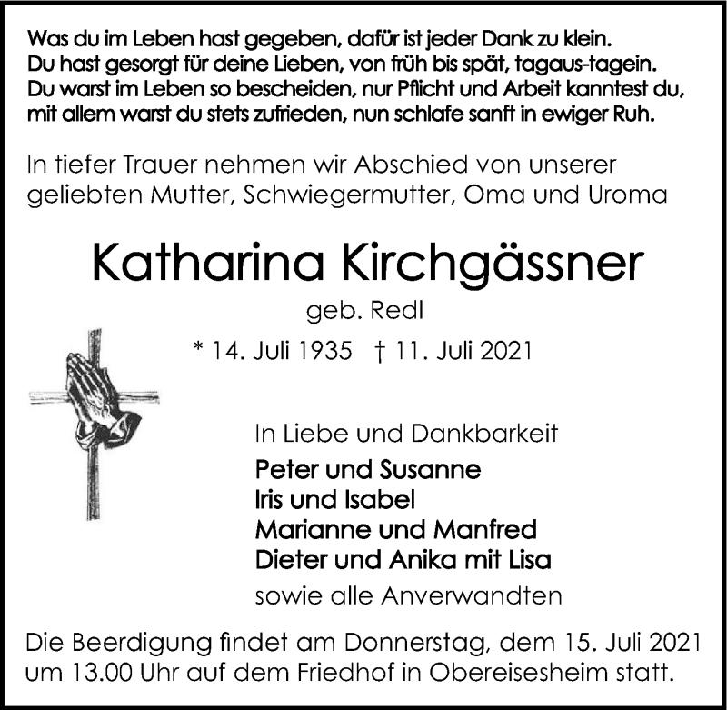 Traueranzeige für Katharina Kirchgässner vom 13.07.2021 aus GESAMT