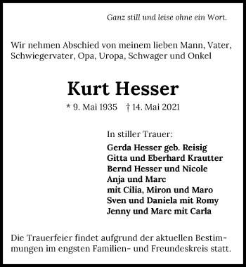 Traueranzeige von Kurt Hesser von GESAMT