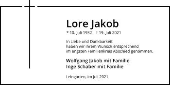Traueranzeige von Lore Jakob von GESAMT