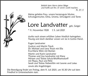 Traueranzeige von Lore Landvatter von GESAMT