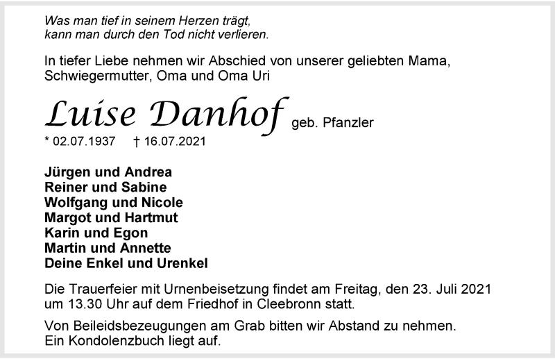 Traueranzeige für Luise Danhof vom 20.07.2021 aus GESAMT