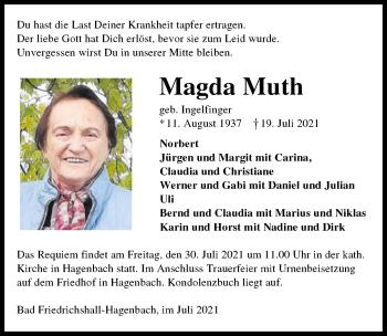 Traueranzeige von Magda Muth von GESAMT