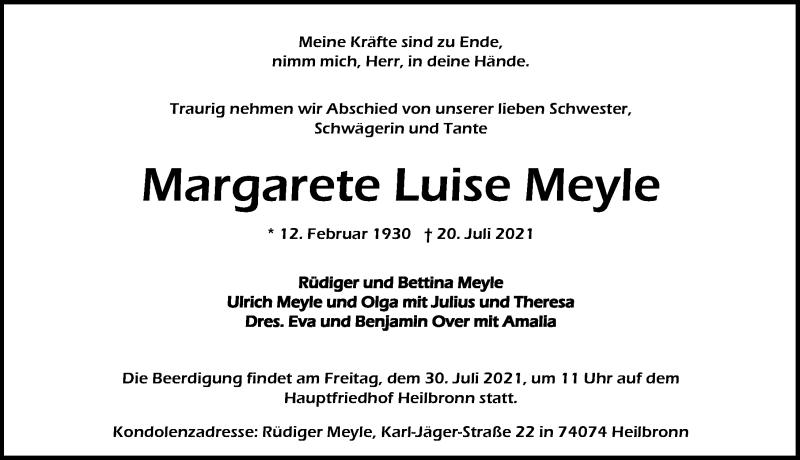 Traueranzeige für Margarete Luise Meyle vom 24.07.2021 aus GESAMT